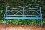 Blue painted metal bench