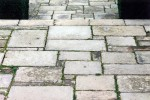 Yorkstone paving in random rectangular pattern