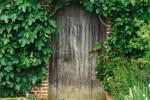 Wooden door in brick wall
