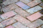 Herringbone brick paving