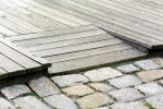 Oak decking with ramp and cobbles