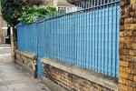 Blue railings with fence
