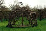 Wooden structure for vines shown in winter