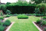 Herb garden with bench
