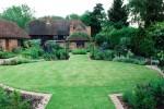 Circular garden with barn