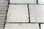 Yorkstone paving with brick edge