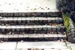 Old brick steps with yorkstone