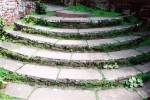 Curved yorkstone steps