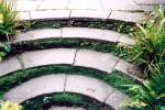 Curved yorkstone steps